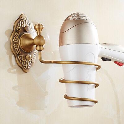 Spiral Blow Hair Dryer Stand Holder Wall Mounted Holder Rack Organizer Brass