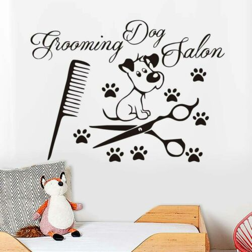 Dog Paw Scissors Comb Vinyl Wall Sticker For Dogs Grooming Salon Pet