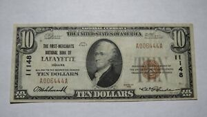 10-1929-Lafayette-Indiana-IN-National-Currency-Bank-Note-Bill-Ch-11148-VF