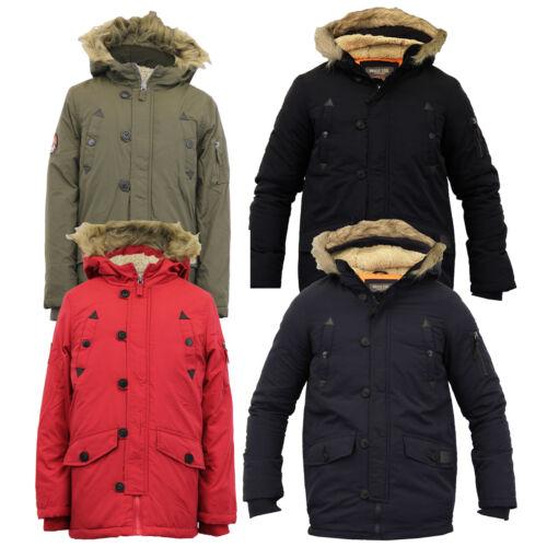 boys school jacket kids parka Brave Soul padded sherpa hooded fur lined winter