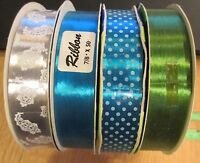 4 Rolls Vintage Sasheen Ribbon 1960's Silver W White Paisleys, Aqua Blue, Green