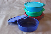 Tupperware Set Of 3 Microwave Cereal Bowls Teal Soup Lunch Bags Food Storage