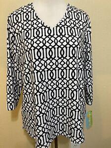 NWT-Anthony-s-Resort-Wear-White-Black-Top-Sz-XL-3-4-Sleeve-V-Neck-UPF-50-Nylon