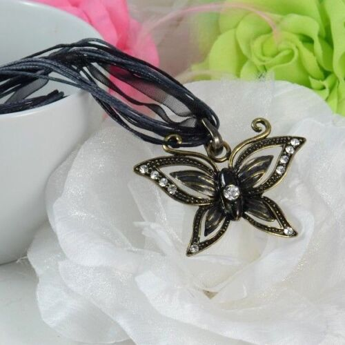 RIBBON AND CORD WITH METAL TEARDROP//DRAGON /& BUTTERFLY PENDANT NECKLACE