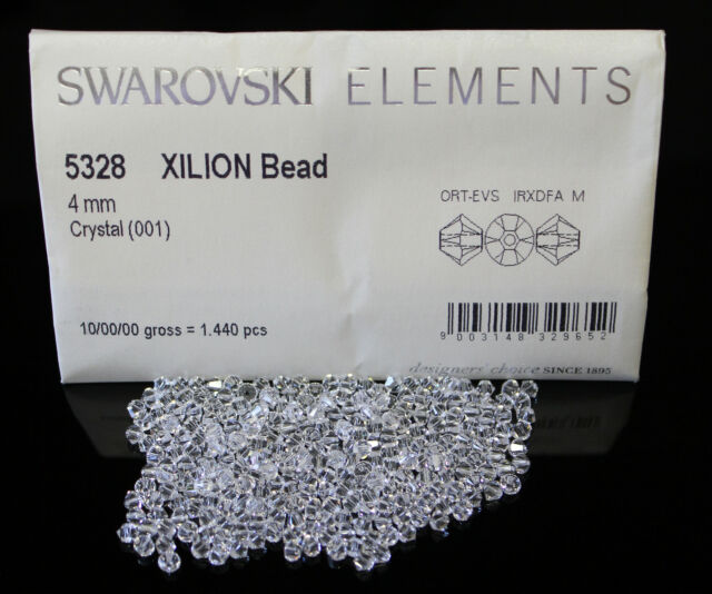 50 x Clear 4mm Bicone Swarovski 5328 Xilion Crystal Bead
