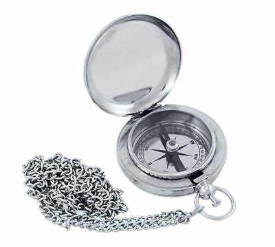 Sprungdeckel Kompass mit Uhrenkette Messing poliert Taschenuhren Kompass