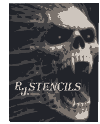 Multilayer STEP BY STEP airbrush stencil SCARY SKULL 1