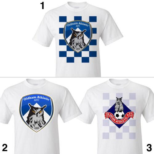 OLDHAM ATHLETIC FC T-shirt S M L XL 2XL 3XL Owl CREST BADGE Latics Retro vintage