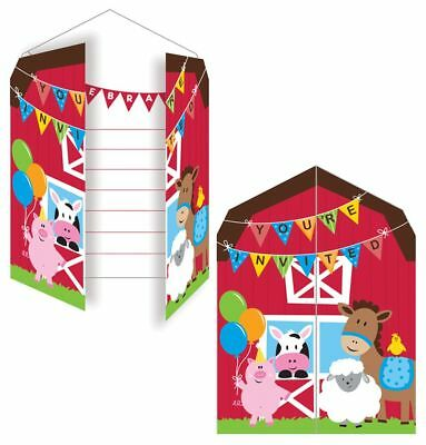 8 Farm House Fun Invitations Envelopes Childrens Birthday Party Invites Cow Pig