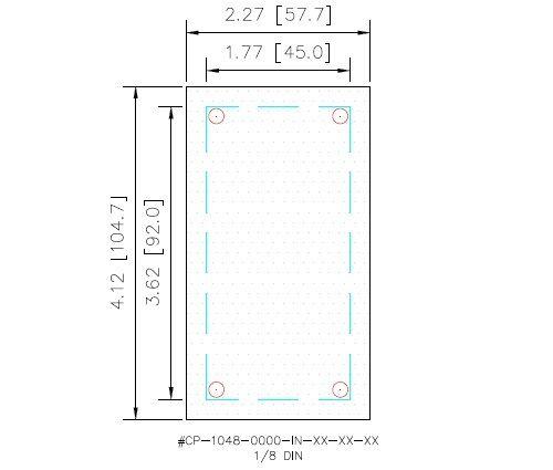 1//8 DIN Panel Meter Cover Plate Steel Dark Gray Gasketed