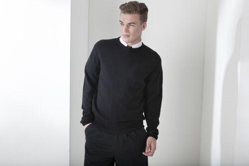 Men/'s Pullover 100/%Lamb Wool Men/'s Jumper Crew Neck Navy Black S M L XL XXL