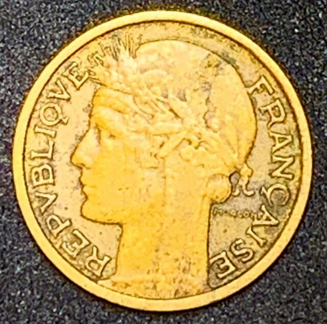 1936 France or French 50 Centimes Aluminum-Bronze Coin #80  (907)