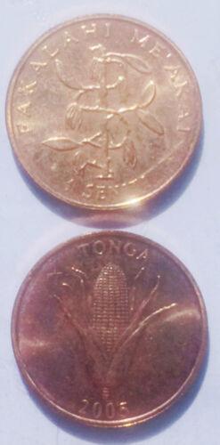 Tonga 1 seniti 2005 17mm Copper plated Steel Coin AU 1pcs