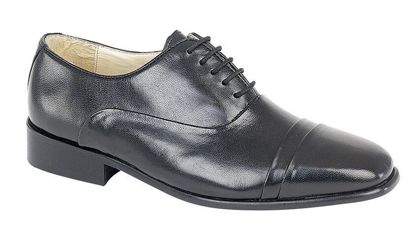 Montecatini Homme Noir Cuir Smart plié Cap 5 œillets Oxford Lace Up Chaussures