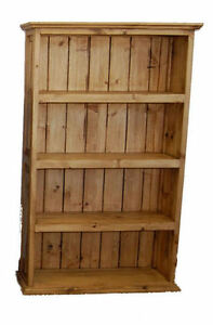 Large Wood Bookcase Real Wood Custom Four Shelves Rustic Western Cabin Lodge