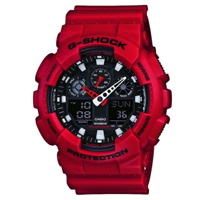 Casio GA-100B-4AER Mens G-Shock World Time Red Resin Strap Watch RRP £110