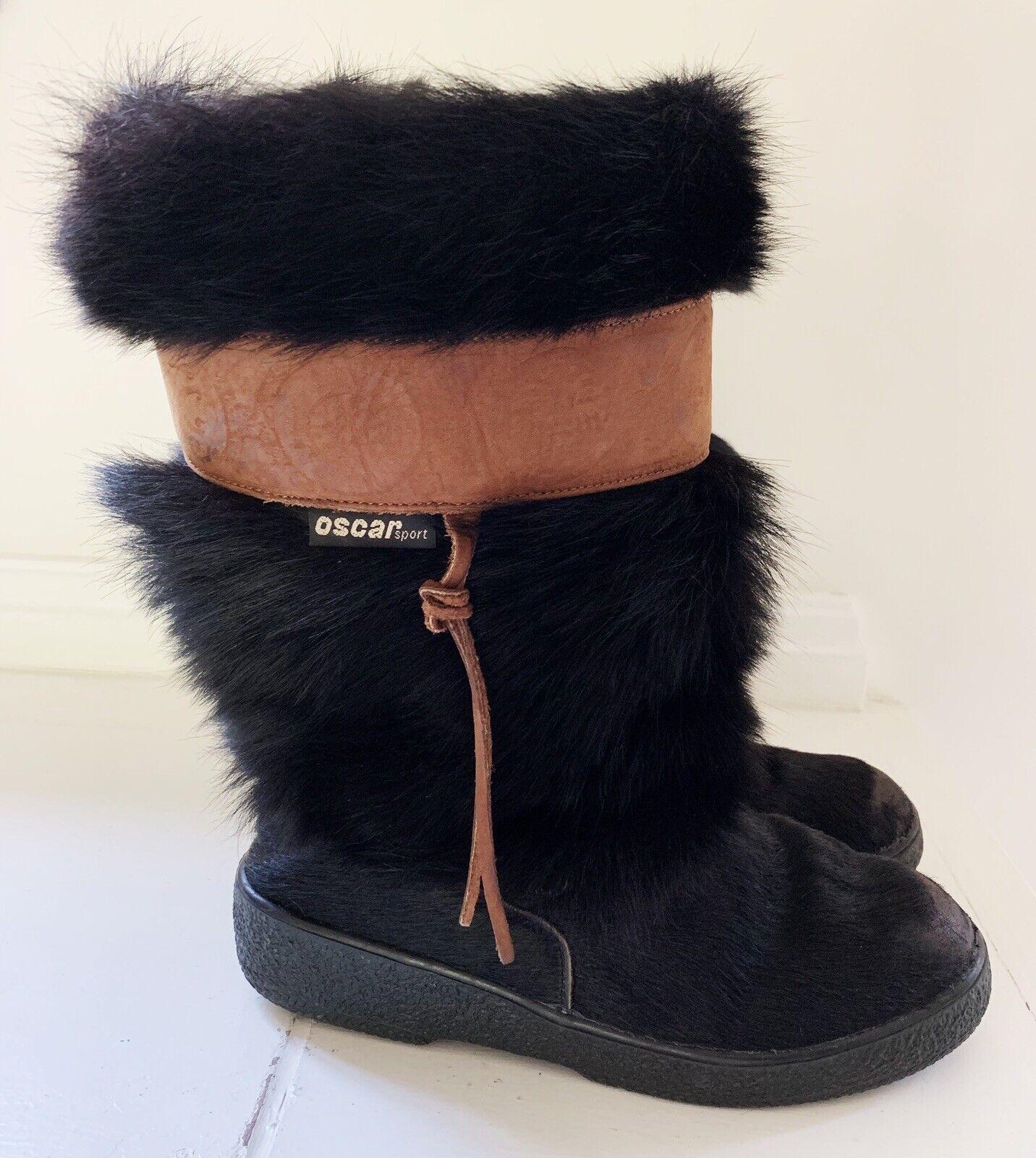 Oscar Sport Italia Cristina Mujeres Imitación Piel botas Sz 38 (7) Negro Marrón acentos