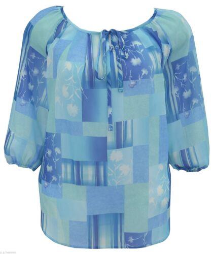 Women/'s New Light Kaftan Tunic Blue Plus Size Top Ladies *LICK*