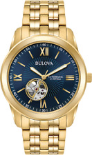 Bulova Men's 97A131 Automatic Open Heart Blue Dial Gold Tone Bracelet 42mm Watch