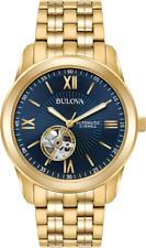 Bulova Men's 97A131 Automatic Open Heart Blue Dial Gold Tone Bracelet 42mm Watch