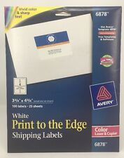Avery White Print To The Edge Shipping Labels 100 Cnt Color Laser Copier 6878