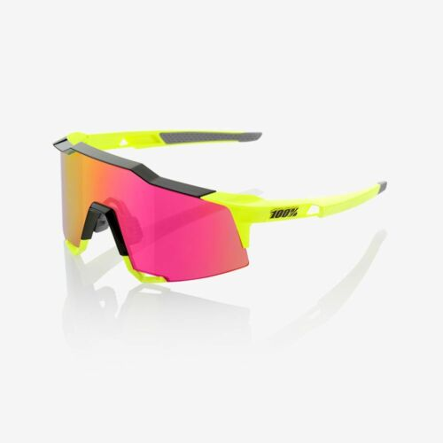 OCCHIALI CICLISMO 100% SPEEDCRAFT POLISHED BLACK - FLUORESCENT YELLOW