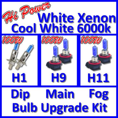 100W Hi Power 6000K White Xenon Headlight Bulb Set Main Dip Fog H1 H9 H11 Kit