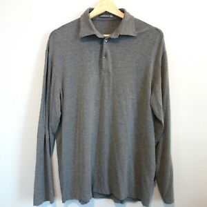 Canali-Stretch-Long-Sleeve-Rugby-Polo-Shirt-Men-039-s-52-US-42-Medium-Large-Gray