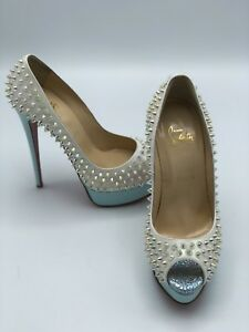 a703a5dcf92 Details about NIB Christian Louboutin Lady Peep clear Spikes 150 Nude Pump  Heel 38.5 $1495