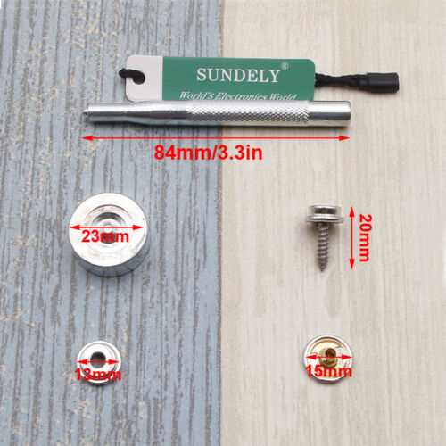 15mm Snap Fastener Stainless Steel Kit Canvas to Screw Press Stud Boat Cover 5//8