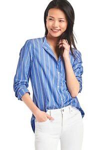 f82bab90 NEW GAP Womens Boyfriend Stripe Cotton Blouse Top Shirt Blue Striped ...