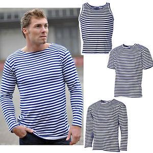 Rusa-Marino-Camiseta-Top-o-jersey-xs-3xl-azul-blanco-de-rayas-marinero