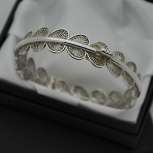 Vintage-925-Sterling-Silver-Filigree-Design-Hinged-Bangle-Bracelet