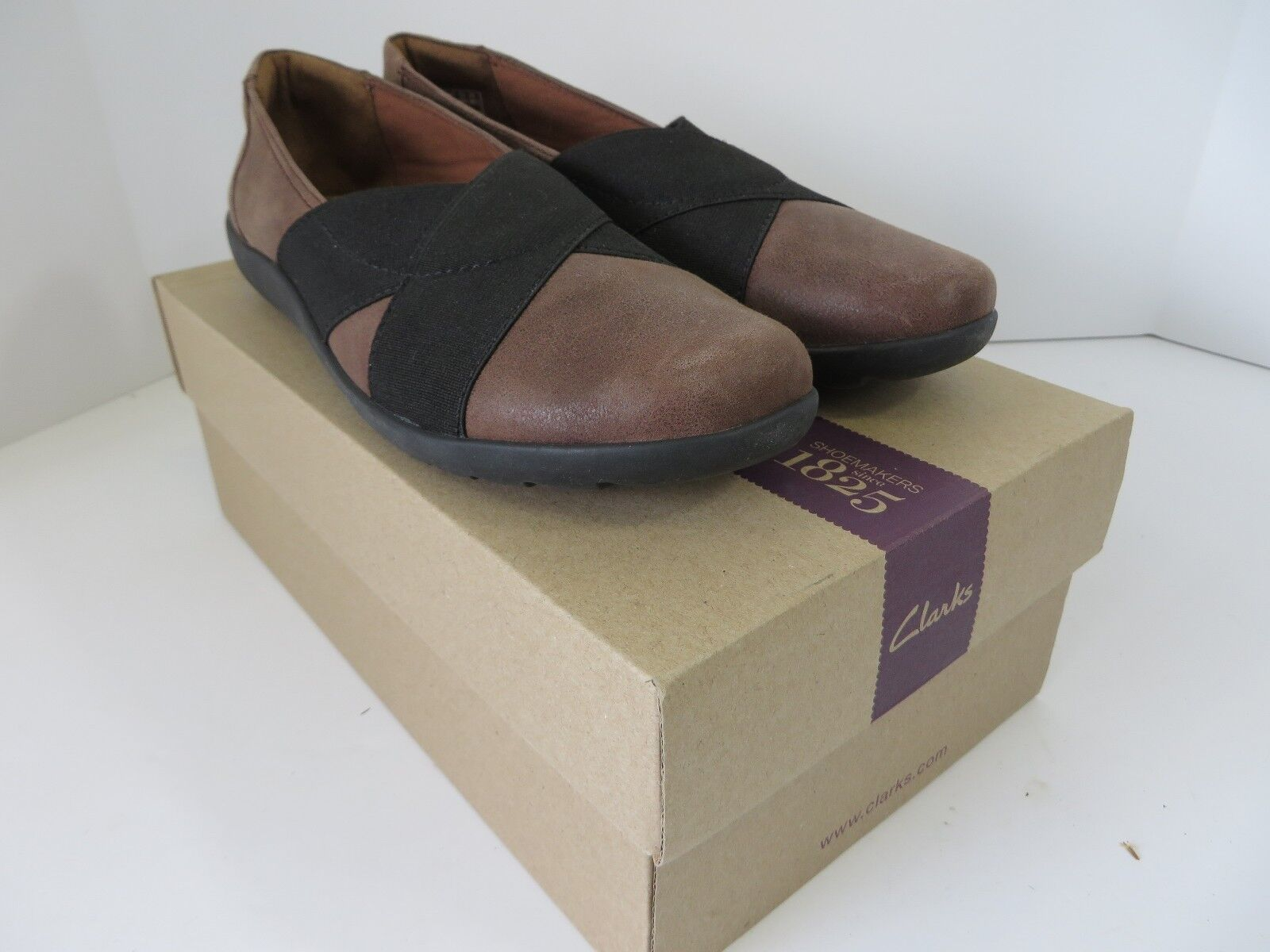 Clarks Medora Jem Cross Strap chaussures Leather Textile marron 8.5 M New in Box  B565