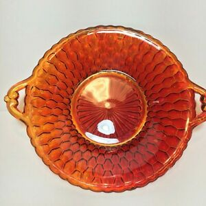 Red-Amber-Glass-Candy-Dish-Plate-Handles