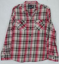 Elixir Mens Red LS Plaid Button Front Shirt Size M