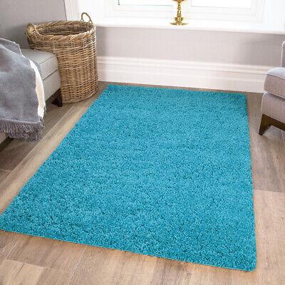 Cheap Plain Plush Teal Blue Shaggy Rugs Dense Long Pile Non Shed Shag Area Rug Ebay
