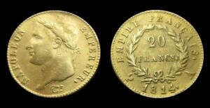 COPIE-Piece-plaquee-OR-GOLD-Plated-Coin-20-Francs-Napoleon-Tete-Lauree-1814-A
