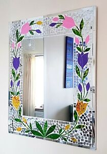 Mirror-rectangular-mosaic-wall-mirror-purple-pink-tulip-design-60cm-NEW