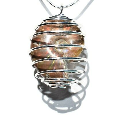 """20/"""" Silver Chain CHARGED Scolecite Hand-Polished Sphere Perfect Pendant™"""