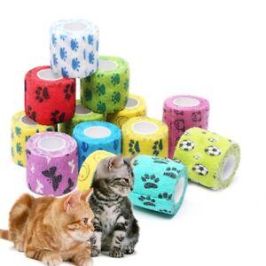 2Rolls-Hund-Katze-Tier-Tierarzt-Wound-Kohaesive-Bandage-Tape-Self-Adherent-Wrap
