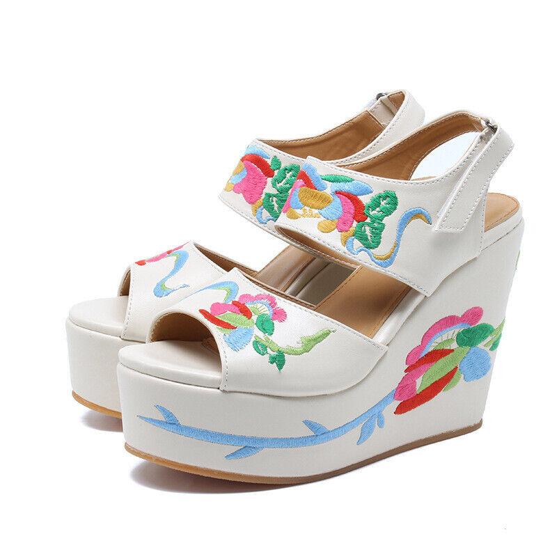Sandals White Flowers Coloured Rope Wedge Plateau 13 cm Elegant & Comfort 1142