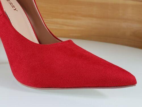 "Red Cherry Milly rouge Vegan daim bout pointu et pompe Chaussure 4.5/"" stiletto high heels"