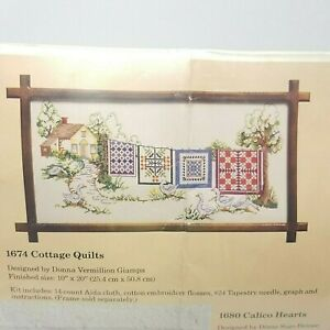 Counted-Cross-Stitch-Kit-1674-Cottage-Quilts-10-x-20-Donna-Vermillion-Giampa