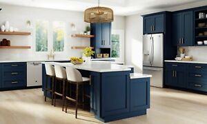 Fully Assembled 10x10 Modern Nassau Mythic Blue Kitchen Cabinets Shaker Navy Ebay