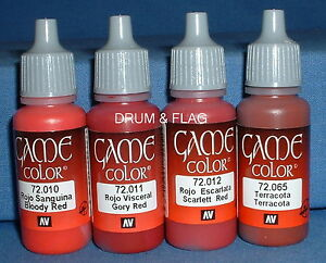 VALLEJO-GAME-COLOR-PAINT-RED-TONES-THE-REDS-4-x-17ml-bottles-DF06