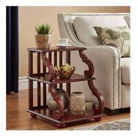 Rustic End Table Wood Scroll Red Sofa Side Display Accent Living Room Bedroom