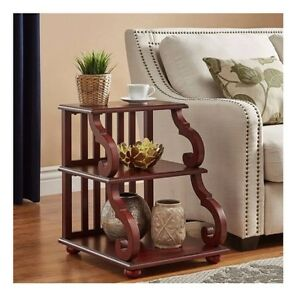 Prime Details About Rustic End Table Wood Scroll Red Sofa Side Display Accent Living Room Bedroom Short Links Chair Design For Home Short Linksinfo