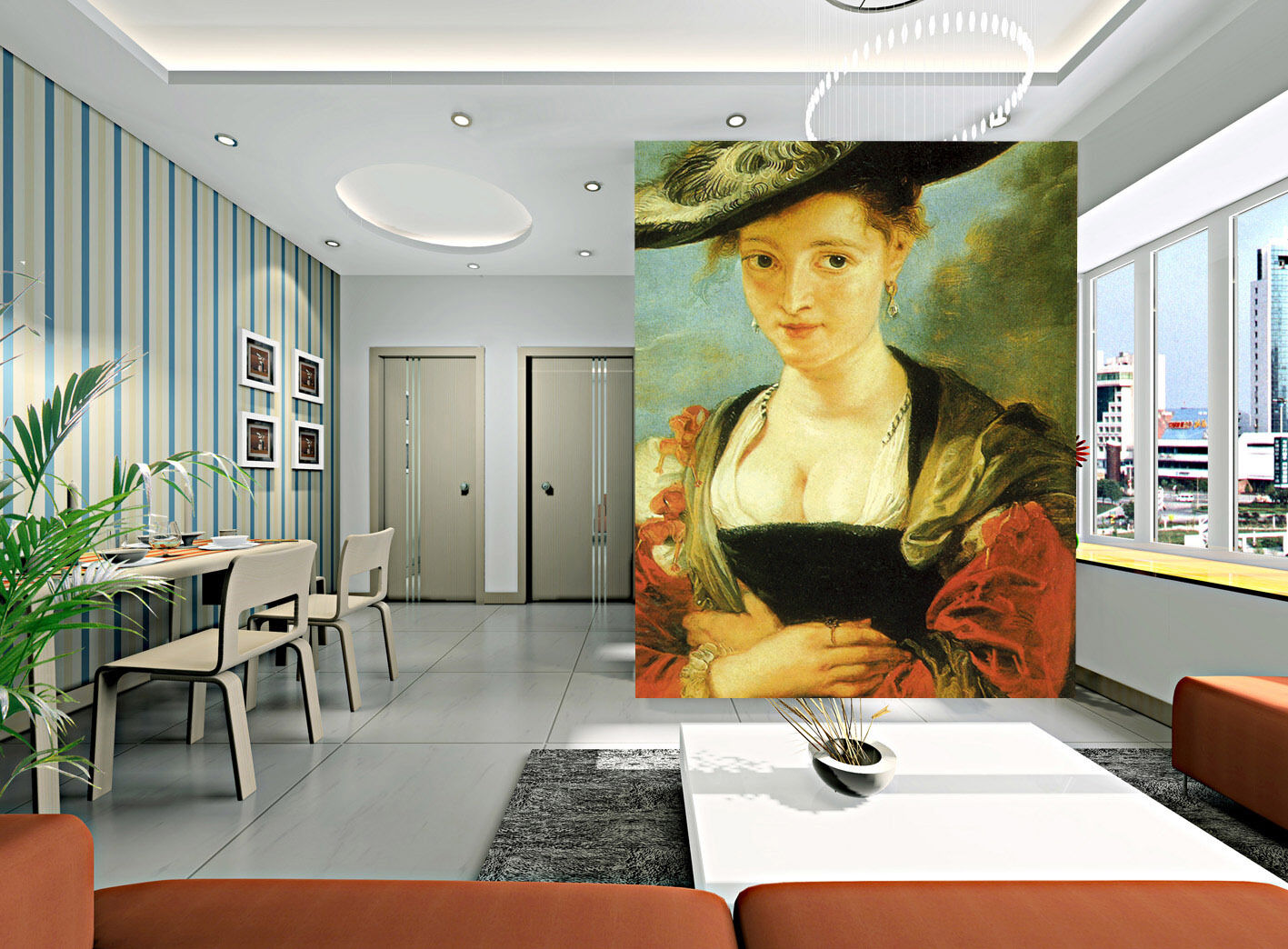 3D Hat Woman Painted Paper Wall Print Wall Decal Wall Deco Indoor Murals
