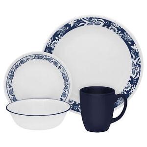 Corelle Livingware 16piece Dinnerware Set True Blue Service for 4  sc 1 st  eBay & Corelle Livingware 16piece Dinnerware Set True Blue Service for 4 | eBay